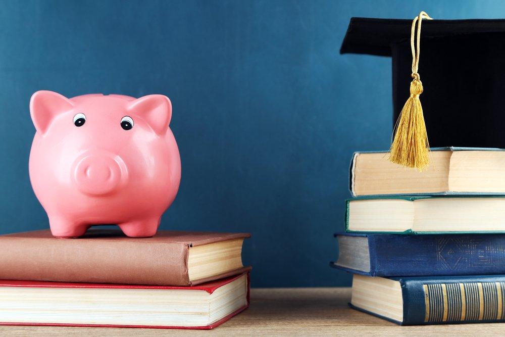 Sparschwein steht auf Schulbüchern
