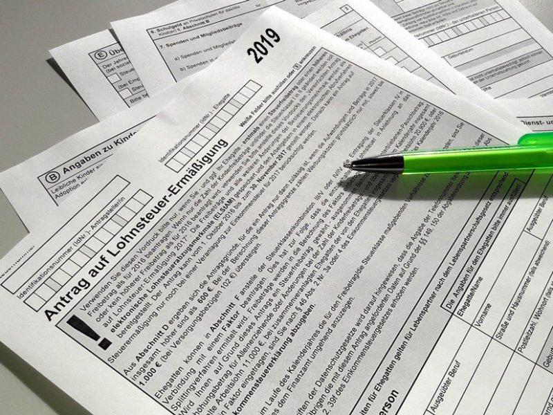 Formular der Steuererklärung für Lohnsteuerermäßigung